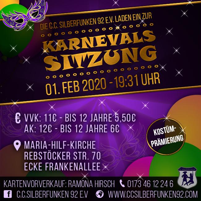 Karnevalssitzung C.C. Silberfunken 01.02.2020 Beginn 19:31 Uhr Maria-Hilf-Kirche Rebstöcker Str. 70 Ecke Frankenallee
